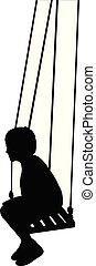 boy swinging, silhouette vector