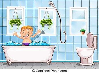 Boy taking a bath in bathroom