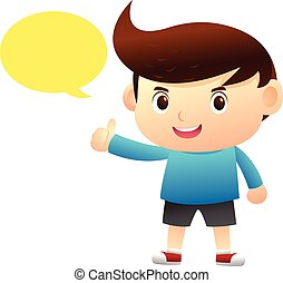 Boy talking cartoon character