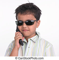 boy talking in his cell phone