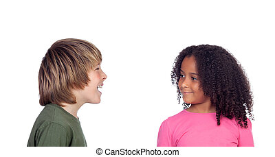 Boy talking with his friend, a beautiful african girl