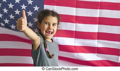 boy teen shows gesture yes Independence Day American usa...