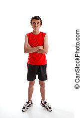Boy teenager wearing sports gym clothing - A young boy...
