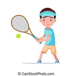 Boy tennis player beat the ball with a racket