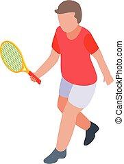 Boy tennis player icon, isometric style
