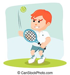 boy tennis player ready to hit
