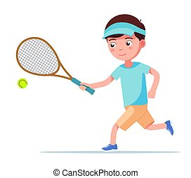 Boy tennis player runs with a racket for the ball