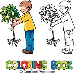 Boy the gardener with a tree. Coloring book