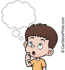 Boy thinking - Vector illustration of Cartoon boy thinking...