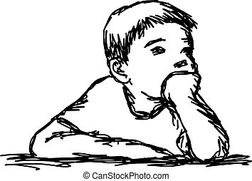 boy thinking with resting chin vector illustration outline sketch hand drawn with black lines isolated on white background