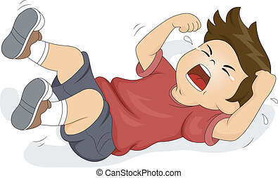 Boy Throwing a Tantrum - Illustration of a Boy Rolling on...