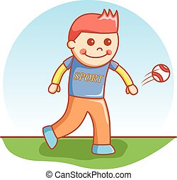 boy throwing ball doodle cartoon