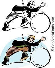 Boy Throwing Snowball - A boy in Winter clothing throws a...