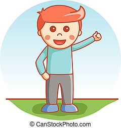 boy thumb up cartoon illustration