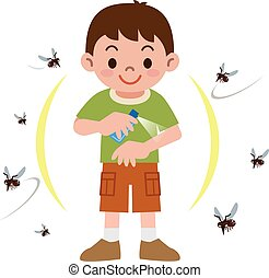 Boy to spray insect repellent - Vector illustration.Original...