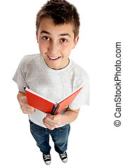 Boy to student with a book - A boy or a student holding a...