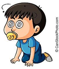 Boy toddler with dizzy eyes