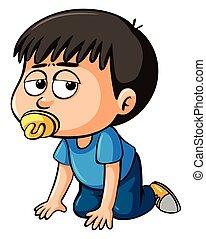 Boy toddler with sad face