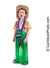 Boy tourist - young boy dressed as a funny tropical tourist,...