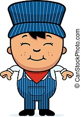 Boy Train Conductor - A cartoon illustration of a boy train...
