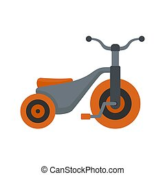 Boy tricycle icon, flat style
