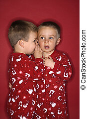 Boy twin brothers whispering. - Young male twin child...