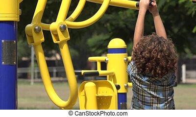 Boy Unable to Use Exercise Machine