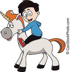 Boy unicorn cartoon illustration
