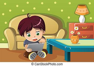 Boy using a tablet PC - A vector illustration of cute boy...