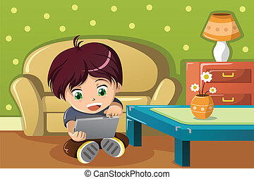 Boy using a tablet PC - A vector illustration of cute boy...