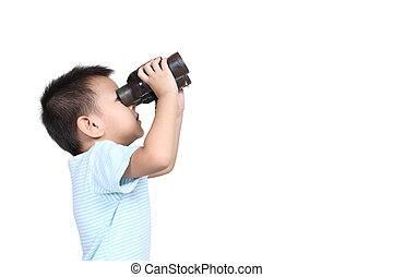 Boy using binoculars, isolated on white background