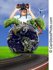 Boy using binoculars with globe concept. (Elements of this image