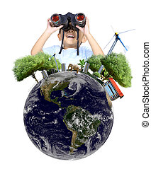 Boy using binoculars with globe concept , isolated on white back