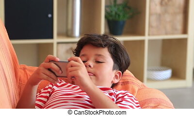 Boy using smart phone