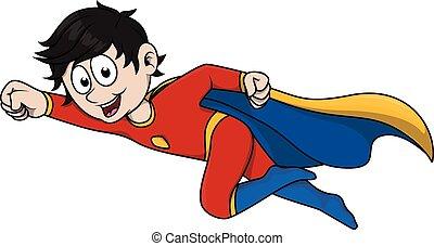 Boy using super hero costume