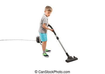 Boy Using Vacuum Cleaner