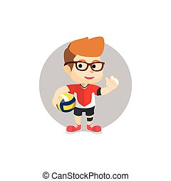 Boy using volley ball