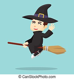 Boy using witch costume