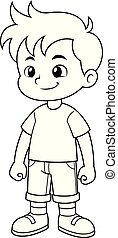 Boy vector cartoon BW