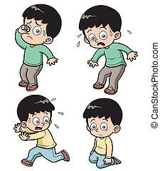 Boy - Vector illustration of boy expression set