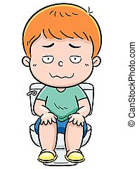 Vector illustration of boy is sitting on the toilet