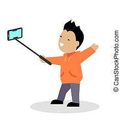 Boy Video Blogger with Smart Phone