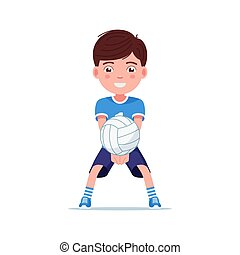 Boy volleyball player beat the ball with his hands