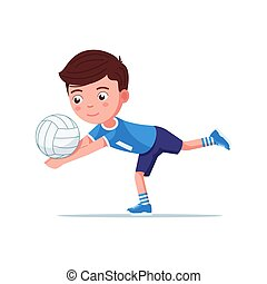 Boy volleyball player plays with the ball