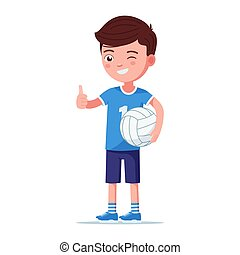 Boy volleyball player stands right with the ball