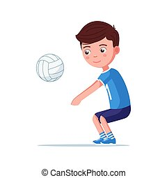 Boy volleyball player takes the ball