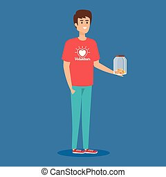 boy volunteer with moneybox and coins donation vector...