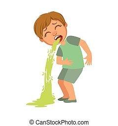 Boy Vomiting, Sick Kid Feeling Unwell Because Of The Sickness, Part Of Children And Health Problems Series Of Illustrations. Young Teenager Ill Cute Cartoon Character With Illness Symptoms.