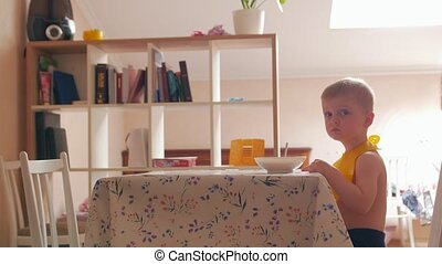 Boy Waiting For Lunch