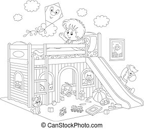 Boy waking up in his bedroom - Black and white vector...